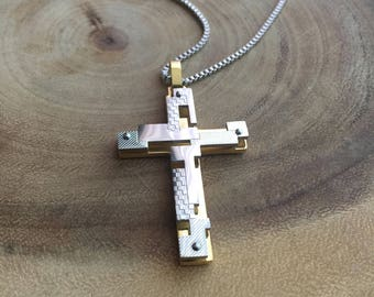 Cross necklace, jesus necklace, mens necklace, Cross pendant, Christian Jewelry, Religious jewelry, jewelry for men, Crucifix necklace