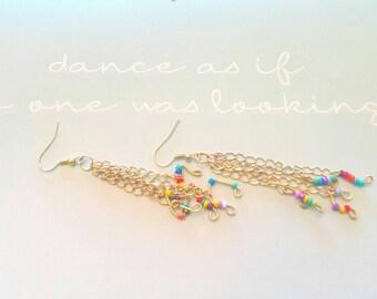 Musical notes earrings, boho beads, chain tassel