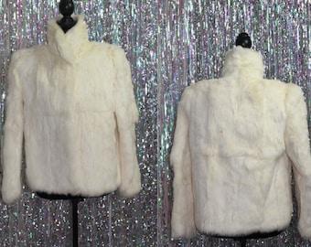 Upward White Rabbit Fur Coat Rabbit w/ Silk Lining (M)