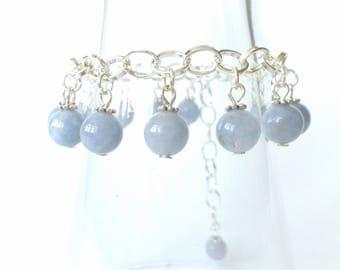 Silver thin metal bracelet AQUAMARINE stones