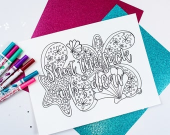 ADULT Coloring Page - Printable Coloring Page / Digital Download / Curse Words Coloring Page / Under the Sea Theme Foul Language