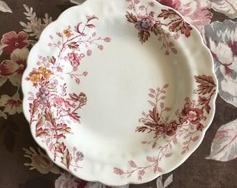 Booths Washington Pink Floral Ironstone Rim Soup Bowl