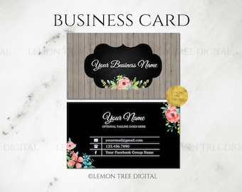 watercolor floral business card wood business card rustic vintage chic premade