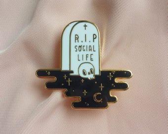 R.I.P Social Life - Hard enamel pin // Space tomb lapel pin