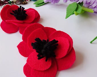 Poppy brooch, teacher gift, red brooch, red fabric flower, red felt flower, poppy pin, red flower pin, felt poppy, red prom flower