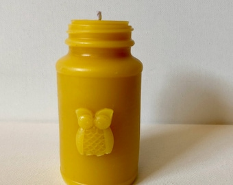 Antique Bottle Shaped Beeswax Candle - Owl Style