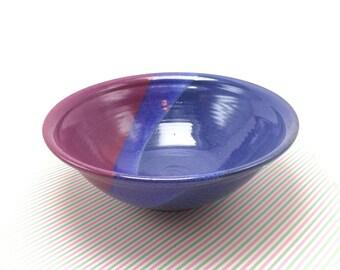 Blue pottery bowl, ceramic bowl, blue bowl, serving dish, baking dish, stoneware bowl, Sarah gamble pottery, red blue pottery, kitchen decor
