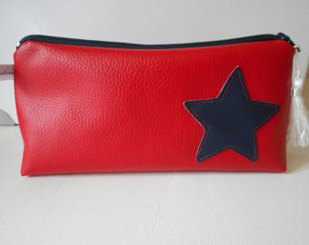 Navy star red leather pouch, inside Navy star cotton white