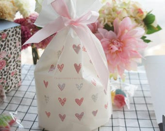 50pcs pink heart design bag Cookie Snacks Chocolate Gift party Decoration Plastic Packaging Bags