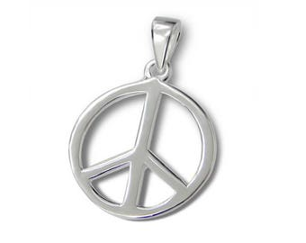 Silver Peace Sign Pendant
