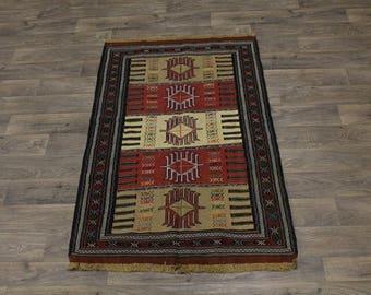 Great Shape Tribal Hand Woven Sumak Persian Area Rug Oriental Carpet 3ʹ7X5ʹ9
