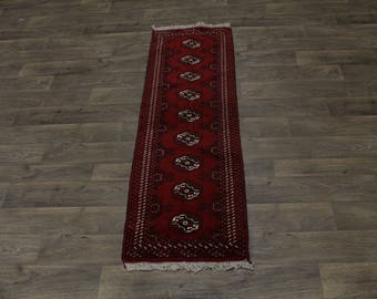 Great Shape Runner Handmade Red Turkoman Persian Area Rug Oriental Carpet 2X6ʹ5