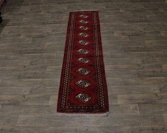 Original Wool Handmade Runner Turkoman Persian Rug Oriental Area Carpet 2ʹ4X9ʹ4