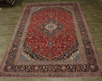 Stunning Traditional Semi Antique Kashan Persian Rug Oriental Area Carpet 9X13