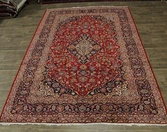 Beautiful Traditional Red Kashan Persian Oriental Area Wool Rug Carpet Sale 8X12
