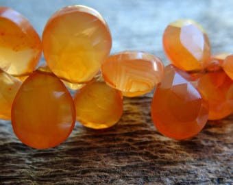 Glowing Reddish Orange Carnelian   Faceted Pear Teardrop Briolettes   12x7.5mm-9.5x7mm   Sold in Sets of 4 Matched Pair Briolettes