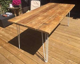 Timber Scaffolding Dining Table / Garden Table with Metal Hairpin legs
