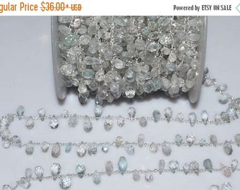 50% OFF Beautiful Aquamarine Rosary Beaded Chain-Aquamarine Drops Silver Wire Wrapped Chain , 5-6 mm -RB5070