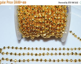 50% OFF Beautiful Gold Pyrite Rosary Beaded Chain-Gold Pyrite Bead Gold Wire Wrapped Chain , Sold By Foot ,  5 - 5.50 mm - RB5009A