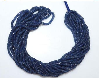 50% OFF Natural Blue Sapphire Faceted Rondelle Beads  , Blue Sapphire Faceted Beads ,16 Inch Strand ,  2 - 3 mm - MC1018