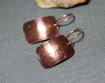 Copper Earrings Hammered Copper Rectangle Rustic Jewelry Antiqued Textured Copper