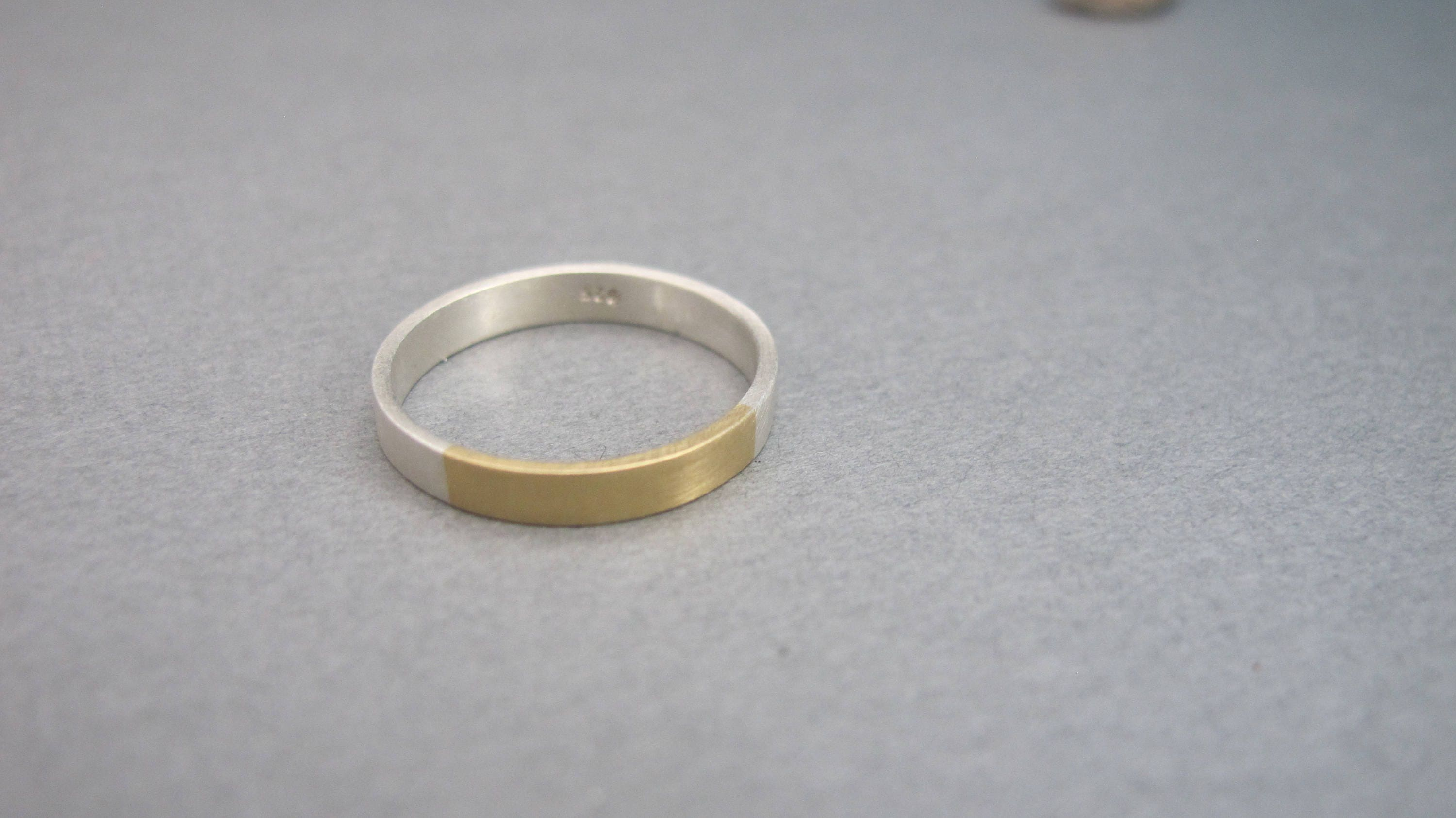 Silver And gold Ring, Modern Ring, Alternative Wedding Ring ...