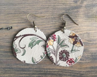 Taupe Floral Round Leather Earrings - Floral Leather Drop Earrings