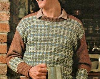 Mens Crew Neck Fairisle Jumper Knitting Pattern pdf