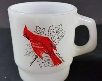 "Fire-King milk glass ""birds"" coffee mug."