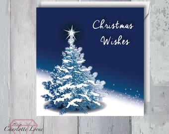Christmas Card - Christmas Tree Card - Christmas Wishes - Personalised Option - Tree - Snow