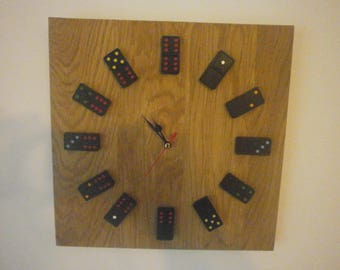 Handmade English Oak Backed Quartz Domino Clock