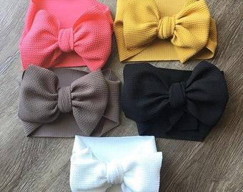 Coral Bow Wrap/ Bow Headwrap