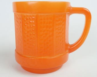 ORANGE FEDERAL MILK glass coffee cup mcm mid-century 184