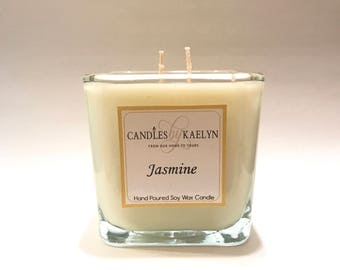 Jasmine Soy Wax Candle - Soy Candles Handmade - Gifts For Her- Clean Burn - Hand Poured - 12oz Glass Jar