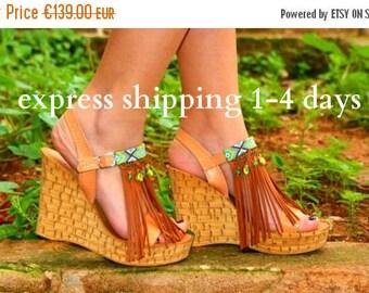 "20% OFF Boho chic shoes/ Handmade  genuine leather sandals/ Cork wedged heel/ fringed sandals/ Women's shoes/ platform sandals/ ""SUMMER RAIN"
