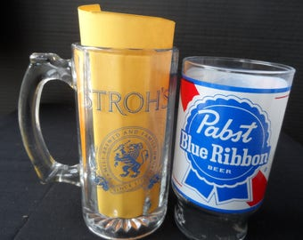 Fans of Stroh's Beer And/Or Pabst Blue Ribbon Beer Beverage Glass, Drinking Glass, Glass Stein  Collectible  1389