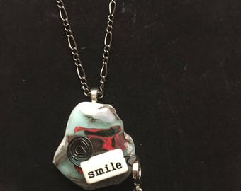 Smile fused glass necklace