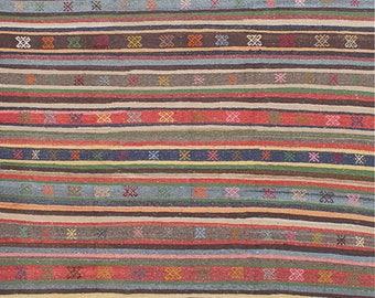 Turkish Rug 5x7 Blue Wool Pile Large Vintage Kilim Rug Hand Knotted Semi Antique Area Rug - ISLA0507