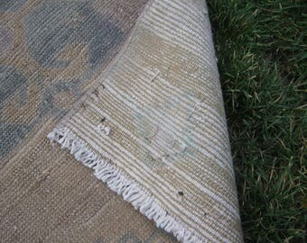 Turkish Rug 1x2 Brown Wool Pile Small Vintage Rug Hand Knotted Semi Antique Area Rug - AZRA0102