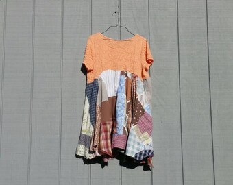 Patch work tunic,upcycled top,funky,boho,repurposed clothing,orange,brown,blue,green,summer dress,crazy quilt top,patchwork,upcycled,