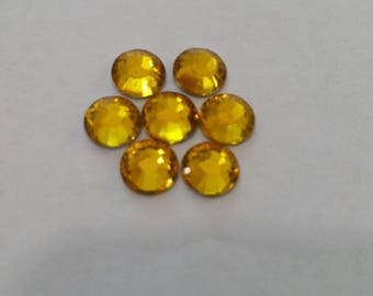 3mm, 4mm, 5mm, 6mm Yellow Flatback Rhinestones | High Quality Rhinestones