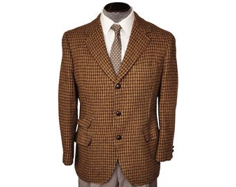 Vintage Harris Tweed Mens Jacket 1960s Houndstooth Sport Coat Howarths M Short