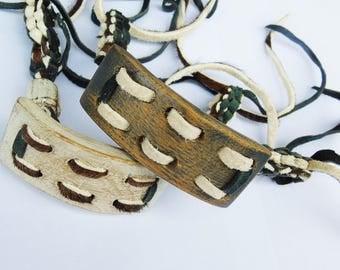 Oak & Black or white wax worn leather bracelet