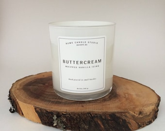 Buttercream Whipped Frosting or Icing Signature Scented Soy Wax Blend Candle with 100% Cotton Wick