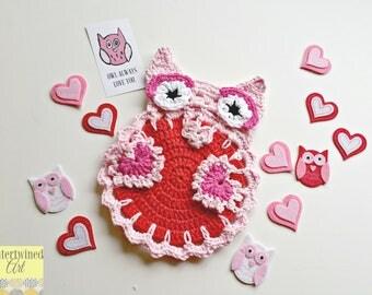 "Crochet ""Owl Always Love You"" Owl Dishcloth / Trivet / Decoration PATTERN PDF instant digital download"