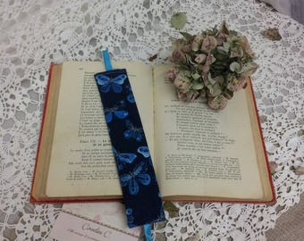 Bookmark fabric blue butterfly John C.