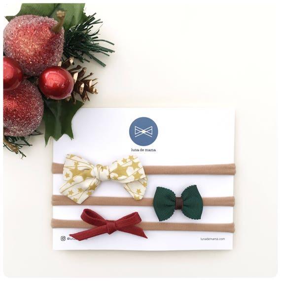 Bow set | simple and modern hair bows | Christmas bow set | holiday bow sets | newborn hair bow sets