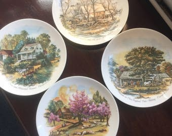 Vintage Currier & Ives Collector Plates, Hanging Plates, Four Seasons, American Homesteads