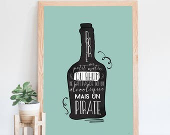 Pirate, rum, illustration and funny typography poster, drinking rum makes you a pirate