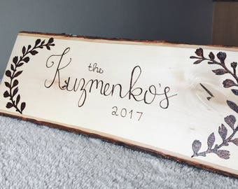 Large Natural Wood Burned Family Name Sign